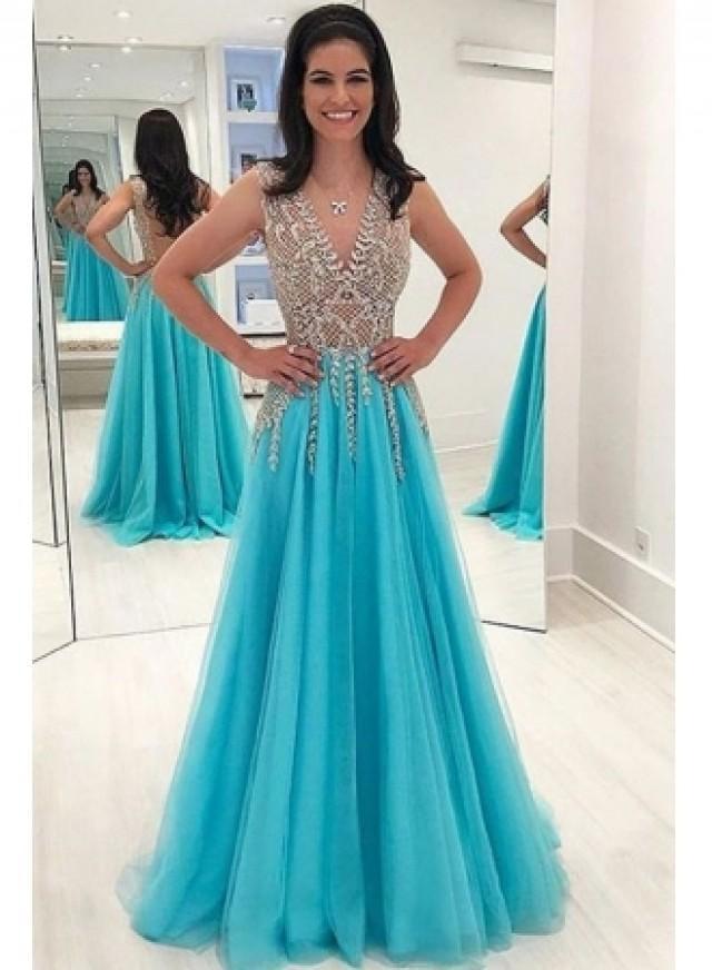 wedding photo - Elegante Abendkleider Blau