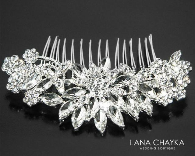 wedding photo - Crystal Bridal Hair Comb. Wedding Hair Comb, Rhinestone Hair Comb, Crystal Silver Hair Piece, Wedding Bridal Comb, Bridal Crystal Headpiece