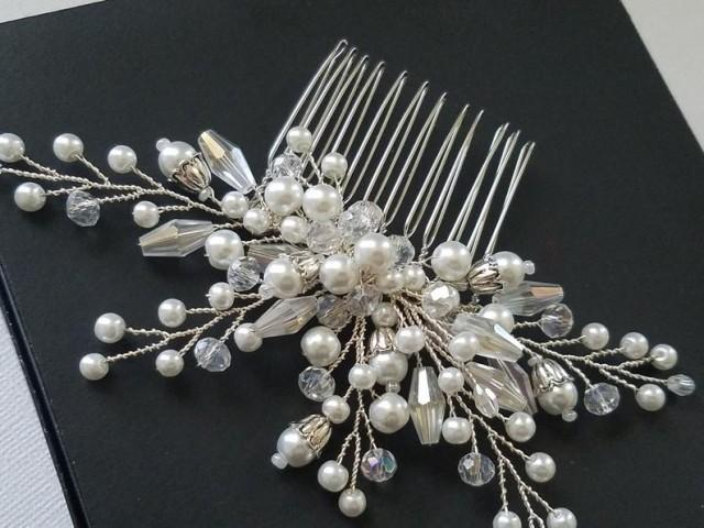 wedding photo - Crystal Pearl Bridal Hair Comb, Wedding Hair Piece, White Pearl Headpiece, Bridal Hair Jewelry, Bridal Hair Piece, Wedding Pearl Hair Comb