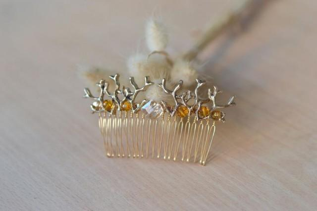 wedding photo - Gold Antlers hair comb Branches headpiece woodland Fairy comb Gold branches comb Antlers hair piece Forest comb crystal