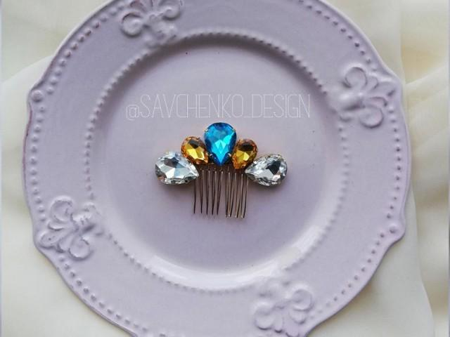 wedding photo - Something blue Swarovski Crystal bridal hair comb