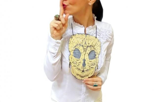 wedding photo - Gold lace skull necklace, halloween tops, skull costume gold bib necklace, big skull jewelry, steampunk, costume accessories