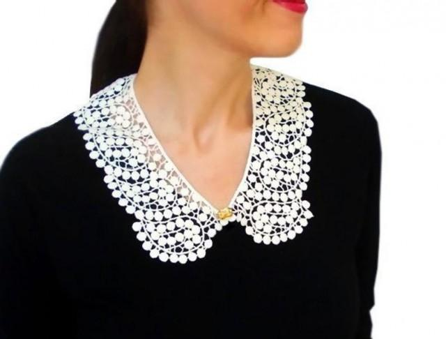 wedding photo - Handmade Unique Gifts Peter Pan Collar Lace Collar White Collar Vintage Collar Bib Necklace Gift For Her Sister Gift Bridal Collar
