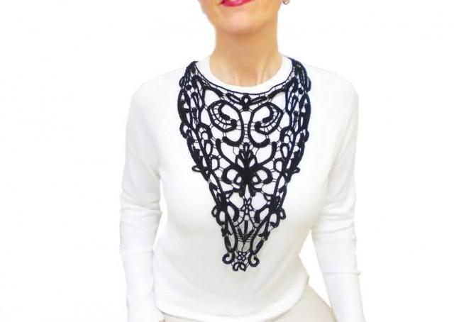 wedding photo - Black Victorian lace necklace, Statement Lace Bib Necklace, Gothic Cosplay Victorian, Floral necklace
