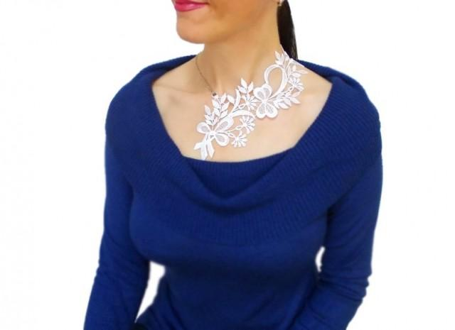 wedding photo - Handmade Unique Gift Handmade Mom Gift Mother Gift Mother's Day Gift White Lace Necklace Statement Necklace Gold Necklace Mom Gift For Her
