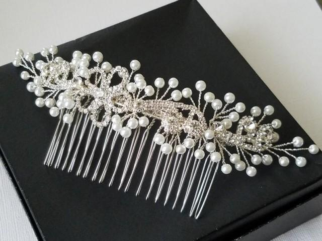 wedding photo - Bridal Hair Comb, Pearl Crystal Hair Piece, White Pearl Headpiece, Wedding Hair Comb, Floral Comb, Bridal Hair Jewelry, Pearl Silver Comb