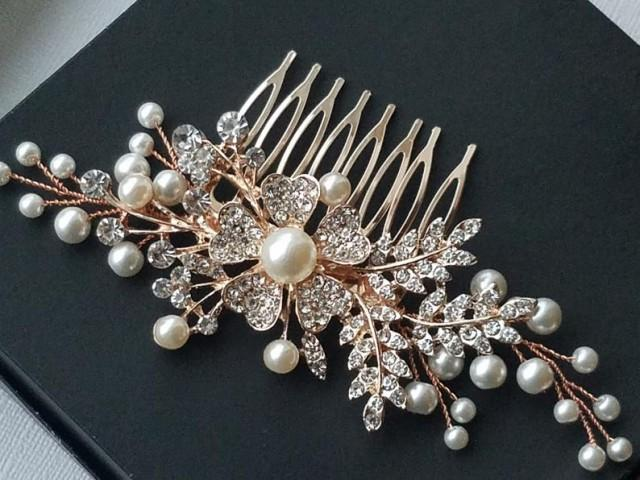 wedding photo - Rose Gold Bridal Hair Comb, Wedding Crystal Pearl Hair Comb, Bridal Hair Piece, Rose Gold Headpiece, Floral Hair Jewelry Pink Gold Hair Comb