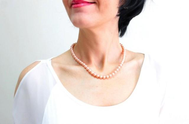 wedding photo - Peach Bridal Choker, Wedding Necklace, Pearl Bridal Choker, Weding Choker Necklace, Classic Champagne Necklace, Gift For Her, Bridal Gift