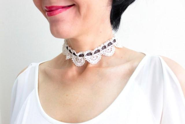wedding photo - Ivory Bridal Choker White Crochet Lace Choker Bridal Jewelry Bridal Accessory Wedding Jewelry Girlfriend Gift For Her Engagement Gift