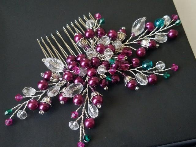 wedding photo - Blackberry Hair Comb, Purple Green Hair Piece, Wedding Hair Piece, Bridal Headpiece, Fuchsia Hair Jewelry, Fuchsia Hot Pink Silver Hair Comb