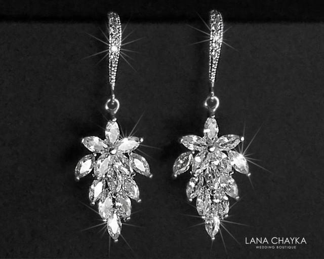 wedding photo - Cubic Zirconia Leaf Earrings, Wedding Crystal Bridal Earrings, Floral Cluster Silver Earrings, Sparkly Chandelier Earrings, Leaf CZ Jewelry