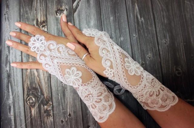 wedding photo - Ivory lace gloves wedding, bridal white gloves fingerless lace gloves, bridal accessories, french lace