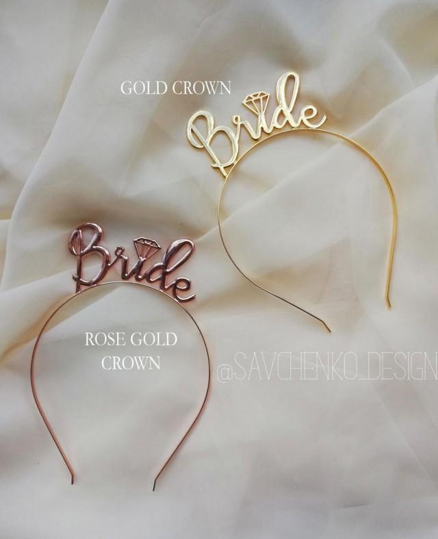 wedding photo - Rose Gold Bride Party Headband