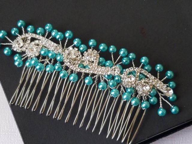 wedding photo - Turquoise Bridal Hair Comb, Teal Silver Hair Piece, Wedding Bridal Hair Piece, Teal Hair Jewelry, Teal Crystal Headpiece, Pearl Headpiece