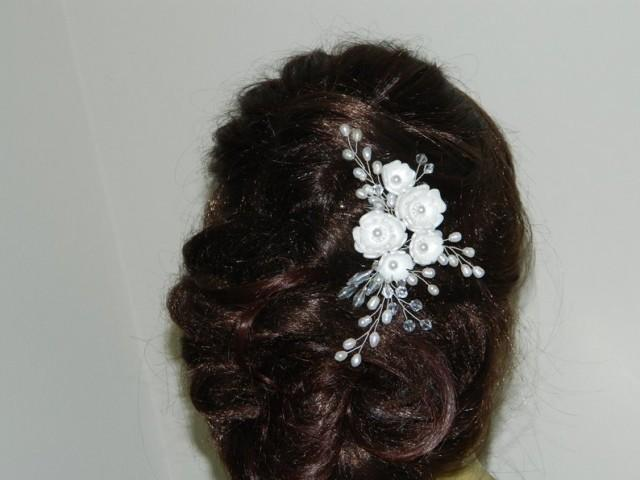 wedding photo - Pearl Bridal Hair Comb, Wedding Pearl Crystal Hair Comb, Bridal Hair Piece, Pearl Floral Headpiece Bridal Hair Jewelry White Pearl Hair Comb