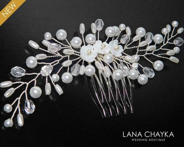 wedding photo - Bridal Pearl Hair Comb, White Pearl Crystal Hair Comb, Wedding Pearl Headpiece, Bridal Pearl Hair Jewelry, White Pearl Hair Piece, Hair Comb