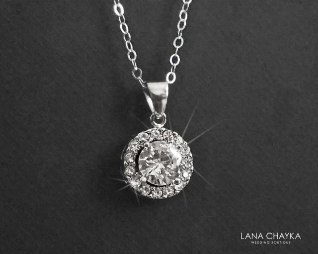 wedding photo - Cubic Zirconia Bridal Necklace, Dainty CZ Wedding Necklace, Crystal Charm Necklace, Bridal Cubic Zirconia Jewelry CZ Sterling Silver Pendant