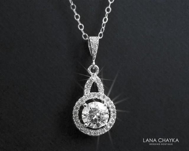 wedding photo - Cubic Zirconia Bridal Necklace, Crystal Silver Necklace, Crystal Halo Necklace, Bridal Bridesmaid Crystal Jewelry, Clear CZ Silver Pendant