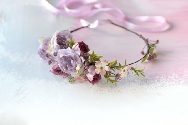wedding photo - Light Lilac Purple flower crown Wedding floral headband Peony rose crown Bride floral crown Boho bride hair piece