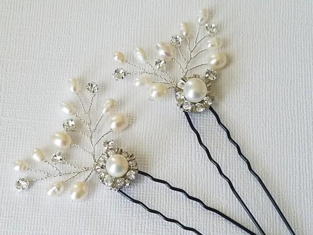 wedding photo - Bridal Hair Pins, Set of 2 Pearl Crystal Hair Pins, Floral Hair Pieces, White Pearl Headpiece, Wedding Hair Jewelry, Pearl Silver Hair Pins