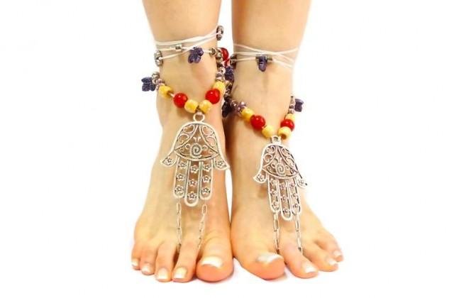 wedding photo - Unique Gifts Barefoot Sandals Silver Barefoot Sandals Beaded Nude Shoes Fatima Hand Jewelry Gift for Her Girlfriend Gift Hamsa Hand