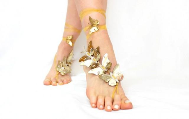 wedding photo - Personalized Gift, Unique Gifts, Barefoot sandals gold, Butterfly barefoot sandals, beach wedding, anklet, genuine leather sandals