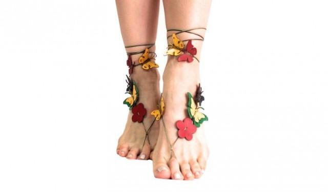 wedding photo - Unique Gifts, Barefoot Beach Jewelry, Leather Flower Butterfly Barefoot Sandal, Hippie Sandals, Foot Jewelry, Toe Thong, Festival Accessorie