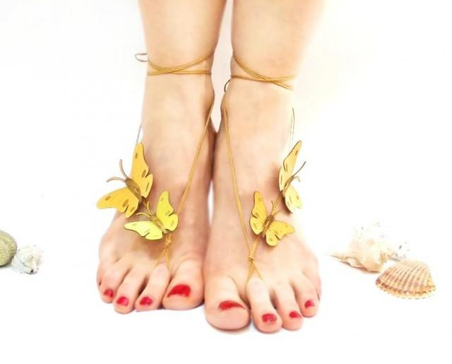 wedding photo - Barefoot sandals, yellow butterfly barefoot sandals shoes, summertime trend, genuine leather nude shoes sandals, gift for her, nude shoes