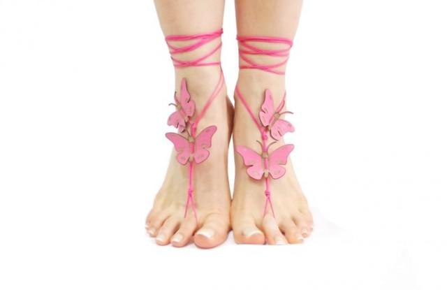 wedding photo - Pink butterfly barefoot sandals, Genuine leather butterfly barefoot sandles, Bohemian shoes, Leg Jewelry, Foot Thongs