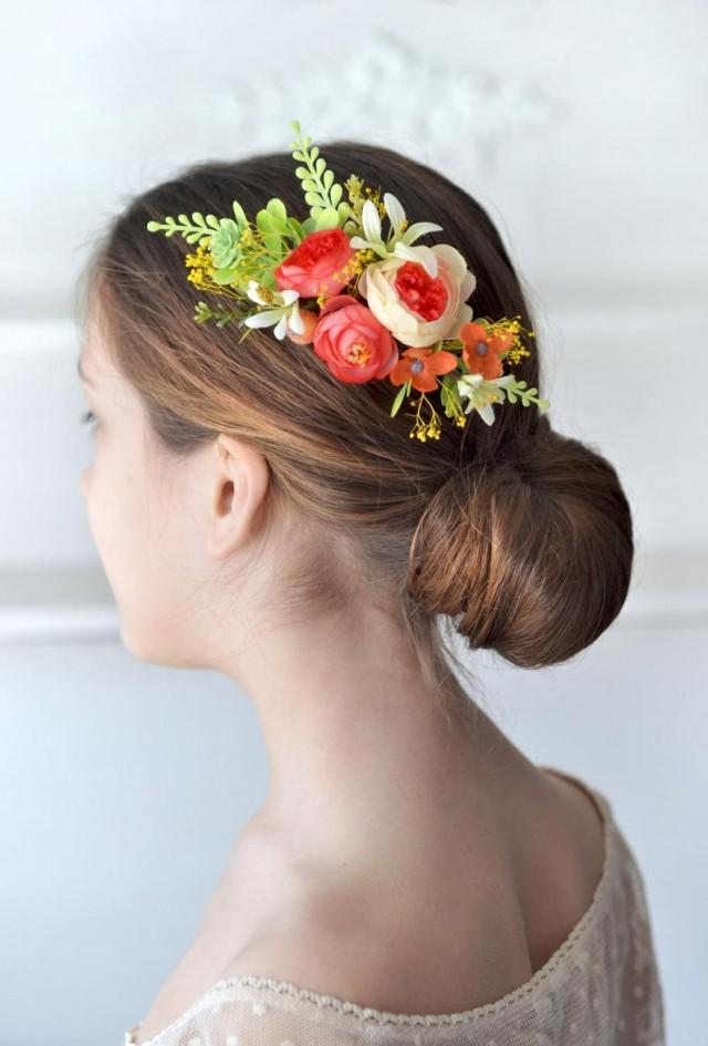 wedding photo - Coral hair comb Summer wedding flower comb Coral yellow floral head piece Bride hair flowers wedding
