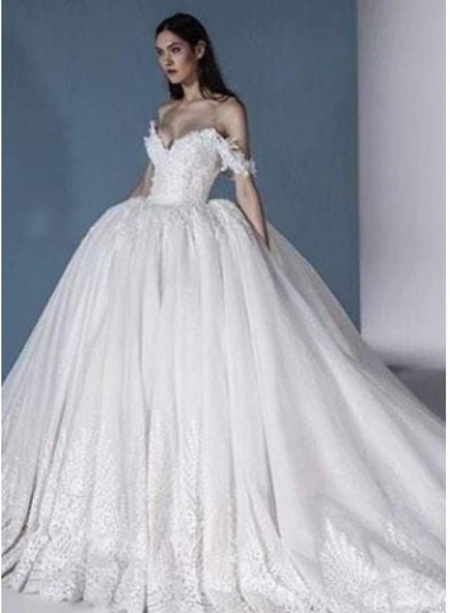 wedding photo - Luxus Brautkleider Online Günstige Hochzeitskleider mit Spitze Modellnummer: XY644