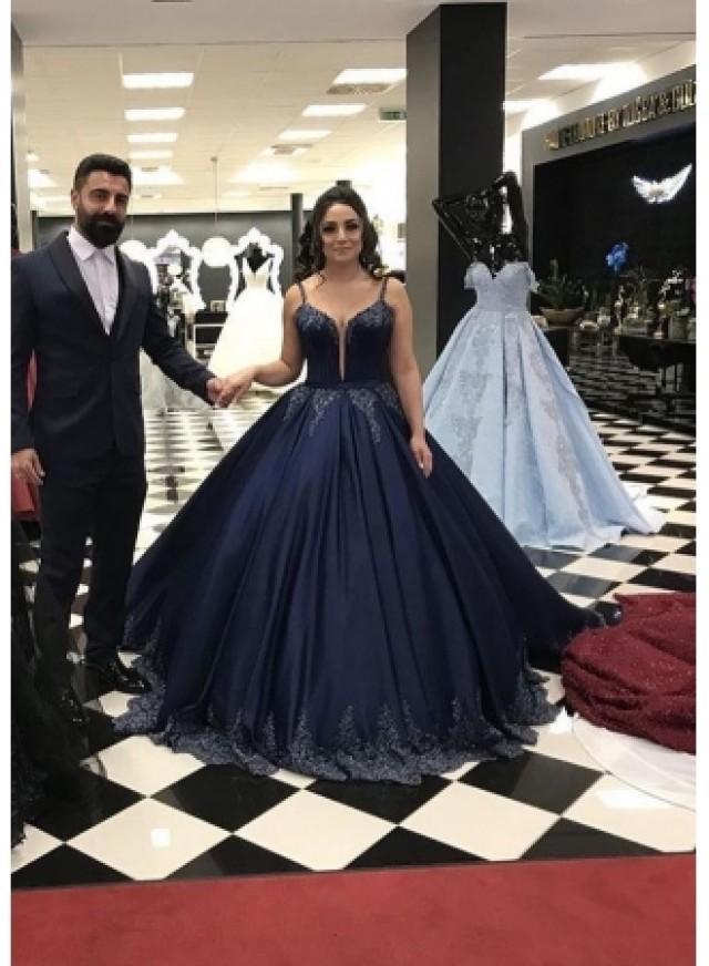 wedding photo - Navy Blau Abendkleider Lang Günstig