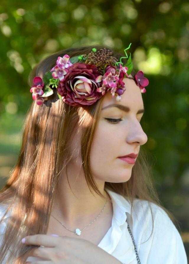 wedding photo - Burgundy floral crown Wedding Burgundy flower headband Hydrangea boho crown Burgundy Peonies hair wreath Wedding hair dress Red flower crown
