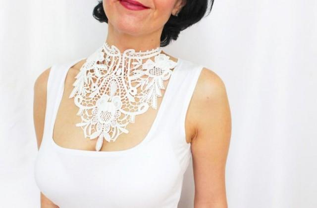 wedding photo - Ivory White Lace Choker Necklace Wedding Necklace Bridal Choker Necklace High Neck Collar Personalized Bridal Necklace Neck Corset Gift Her