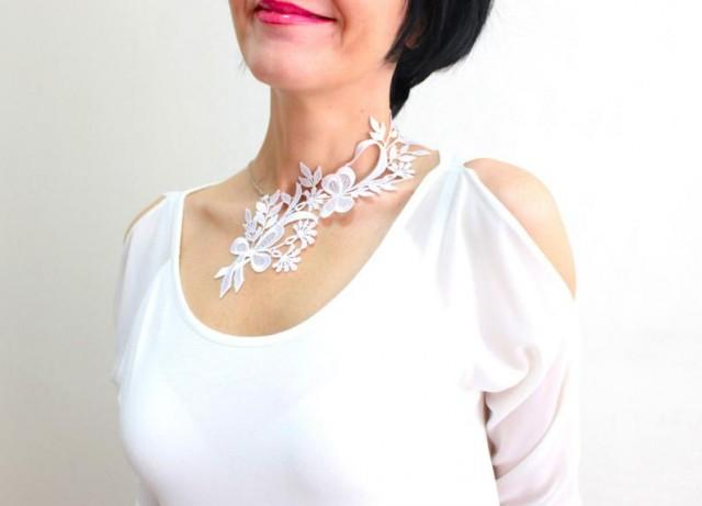 wedding photo - Unique Gift Handmade Mom Gift Mother Gift Mother's Day Gift White Lace Necklace Statement Necklace Silver Necklace Mom Gift For Her