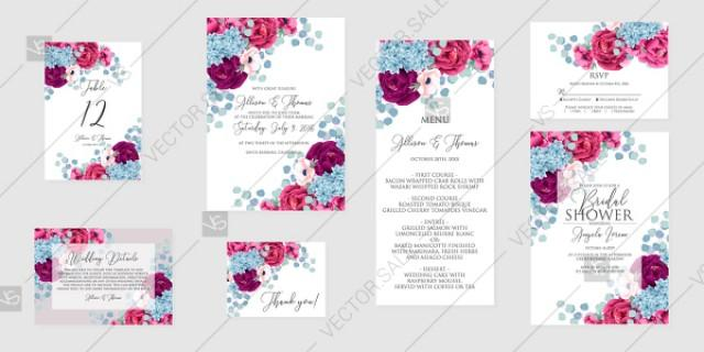 wedding photo - Marsala hydrangea blue rose peony Wedding invitation set printable card template vector anniversary invitation