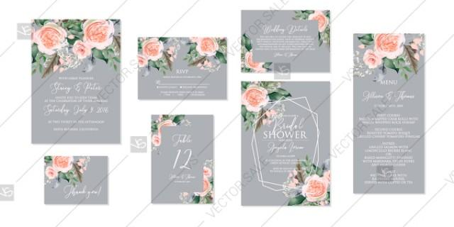 wedding photo - Peach rose peony Wedding invitation set printable card template vector floral pattern