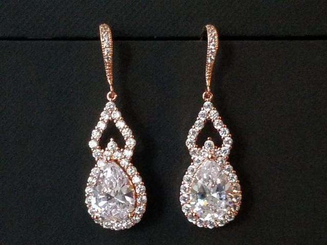 wedding photo - Rose Gold Bridal Earrings, Teardrop Crystal Earrings, Wedding Pink Gold Earrings, Cubic Zirconia Dangle Chandelier Earrings, Bridal Jewelry