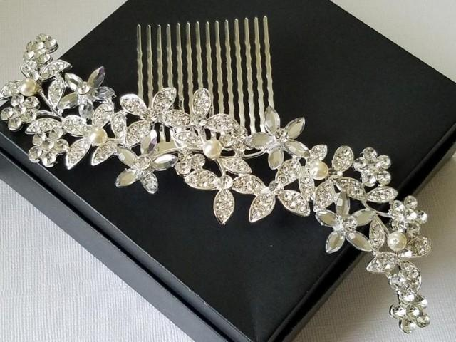 wedding photo - Bridal Crystal Hair Comb, Silver Floral Large Headpiece, Bridal Crystal Pearl Hair Piece, Wedding Hair Jewelry, Bridal Rhinestone Headpiece