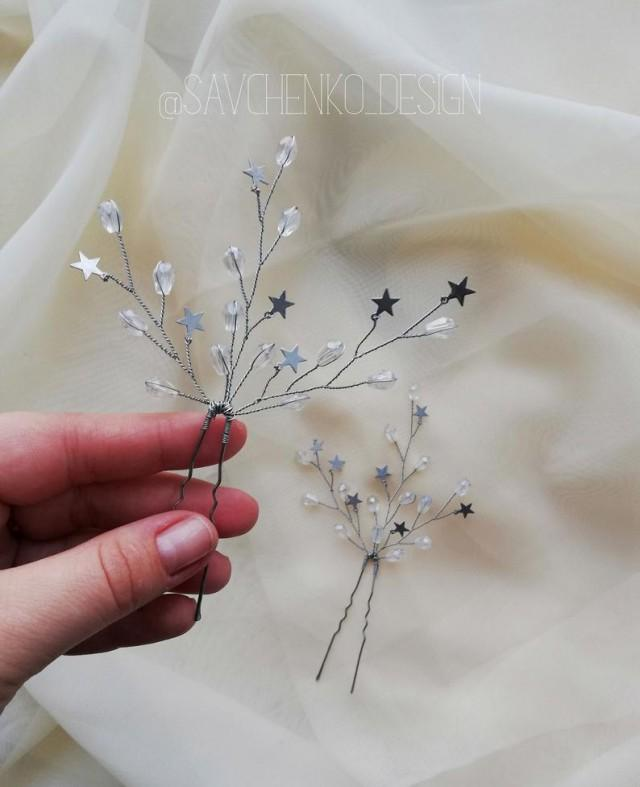 wedding photo - Wedding Hair Pins of Stars Celestial Wedding Stars hair pins