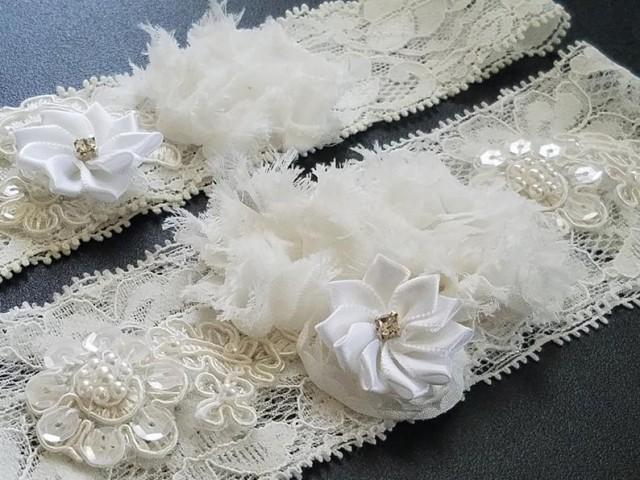 wedding photo - Wedding Garter Set, Bridal Lace Garter Set, Off White Garter Set, Shabby Flower Garter Set, Rustic Garter Sets, Keepsake Garter Set