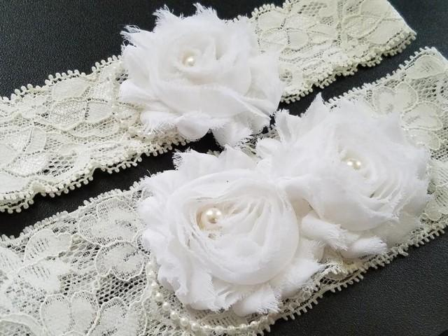 wedding photo - Wedding Garter Set, Bridal Stretch Lace Garter Set, White Bridal Garter, Shabby Flower Garter Set, Rustic Garter Set, Wedding Lace Garter