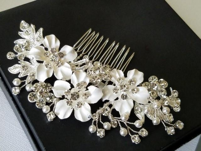 wedding photo - Bridal Crystal Hair Comb, Wedding Hair Comb, Floral Bridal Hair Piece, Wedding Headpiece, Silver Crystal Hair Comb, Bridal Hair Jewelry