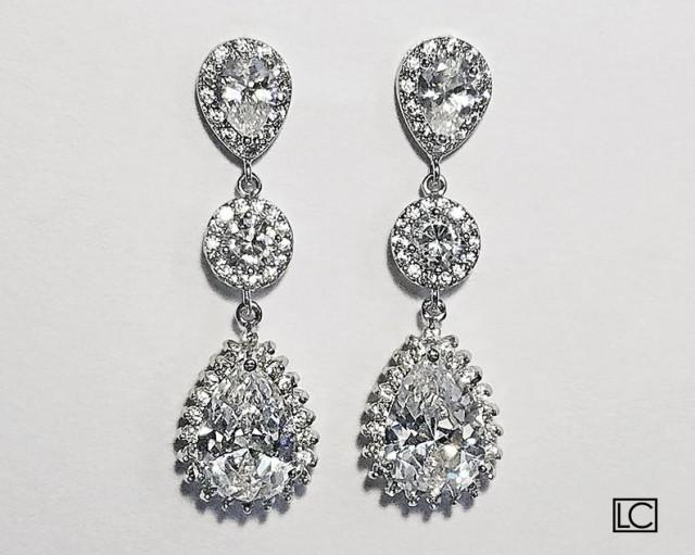 wedding photo - Crystal Bridal Earrings, Cubic Zirconia Chandelier Wedding Earrings, Teardrop Earrings, Bridal Jewelry, Sparkly Halo Earrings, Prom Earrings