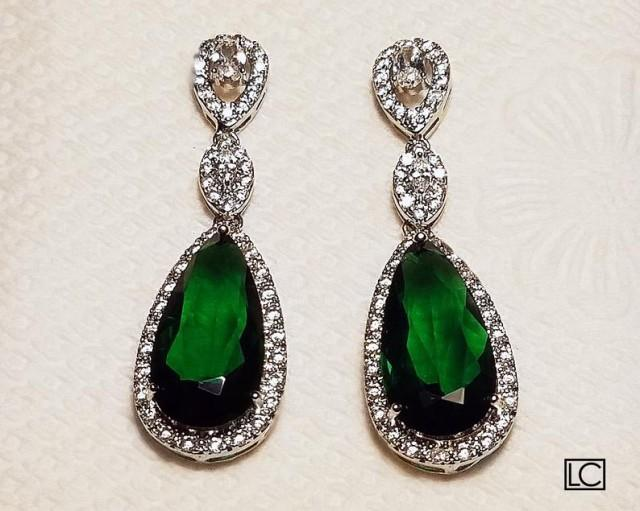 wedding photo - Emerald Crystal Bridal Earrings, Green Chandelier Earrings, Emerald Bridal CZ Earrings, Green Teardrop Wedding Earrings