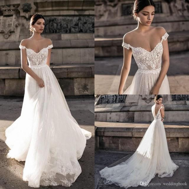 wedding photo - Discount Gali Karten 2019 Sexy Wedding Dresses Sheer Backless Bohemian Off The Shoulder Lace Appliqued Wedding Gowns Modified A Line Wedding Dress Online Wedding Gowns From Weddingbook, $126.64
