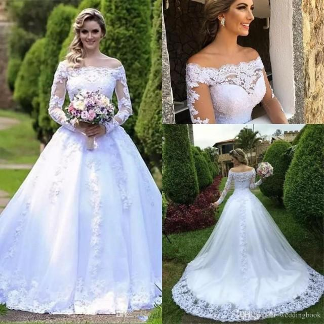 wedding photo - Discount 2019 Elegant Long Sleeves Lace A Line Wedding Dresses Bateau Neck Tulle Applique Beaded Court Train Wedding Bridal Gowns Red Wedding Dresses Sexy Wedding Dress From Weddingbook, $131.16