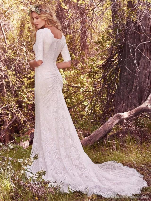 wedding photo - 2018 Vintage Country Wedding Dresses With Half Long Sleeves Bohemian Full Lace Modest Wedding Bridal Gowns 2017 Custom Made Wedding Dresses Designers Wedding Dresses From China From Weddingbook, $108.55