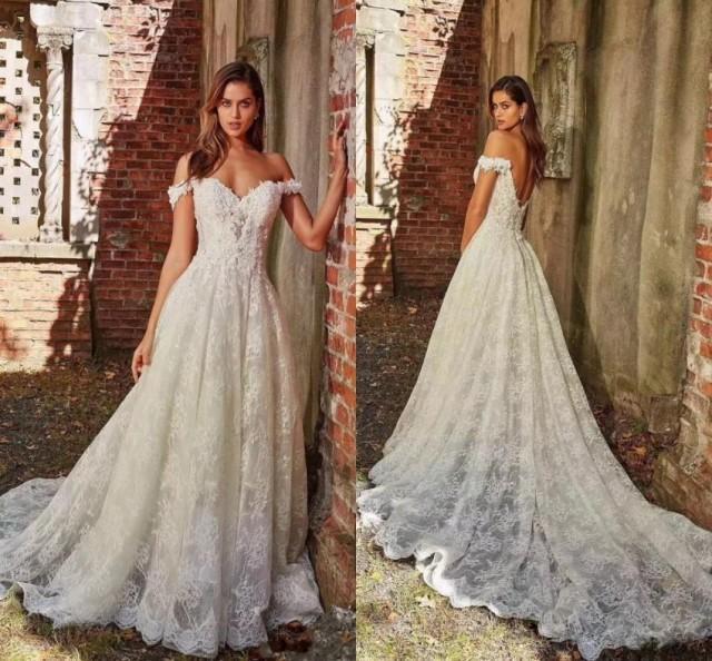 wedding photo - Discount Hot Off The Shoulder Lace Wedding Dresses A Line Appliques With Court Train Long Bridal Gown Sexy Back Wedding Gowns Tea Length Wedding Dresses Wedding Dress Designers From Hjklp88, $119.6