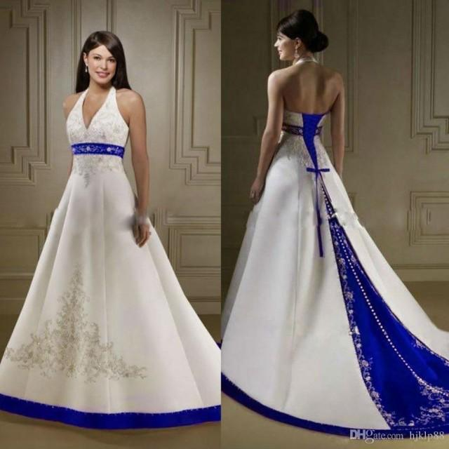 wedding photo - Discount Court Train Ivory And Royal Blue A Line Wedding Dresses Halter Neck Open Back Lace Up Custom Made Embroidery Wedding Bridal Gowns Simple Wedding Dress Black And White Wedding Dresses From Hjklp88, $115.33